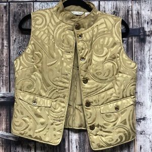 Tommy Bahama SM gold silk button down vest